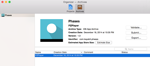 xcode organiser archive